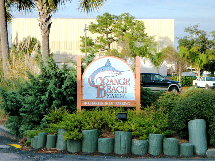 Charter boat parking, just follow this sign to Gulf Shores fishing.