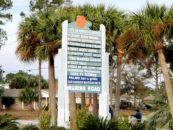 Here's the sign for Marina Road that will lead you to some of the best Gulf Shores and Orange Beach deep sea fishing.